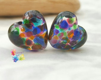 Lampwork Beads Forever Rainbows Heart Pair