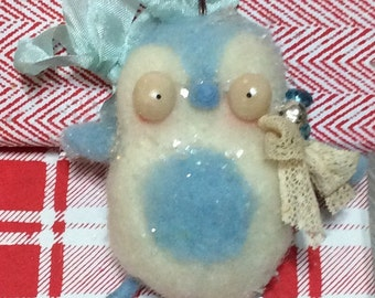Blue penguin Needle felted ooak  Christmas ornament art doll