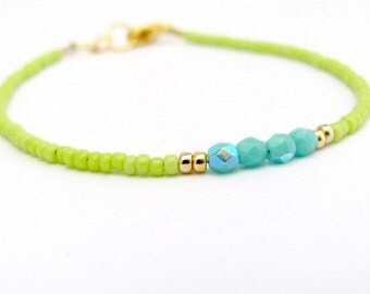 Turquoise Bracelet, Lime Seed Bead Bracelet, Friendship Bracelet, Summer Jewelry, Yoga Zen Bracelet, Pop Art Color Block, Blue Green Wedding