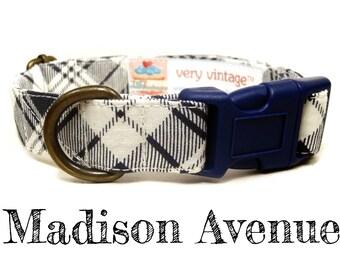 "Navy Blue White Preppy Plaid Dog Collar - Organic Cotton - Antique Brass Hardware - ""Madison Avenue"""