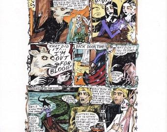 Dame Darcy, Meat Cake , original art, hand painted, comix, comics, manga, print, zine, Punishment