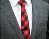 Buffalo Plaid Necktie - Men's Necktie - Red and Black Check Tie