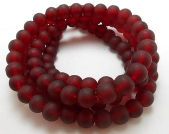 50 Dark Red Matte Sea Glass Beads 8mm frosted beach glass round (H5003)