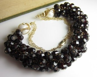 The Lady in Garnet Necklace - Deep Red Garnet and Freshwater Pearl in 14k Gold Fill
