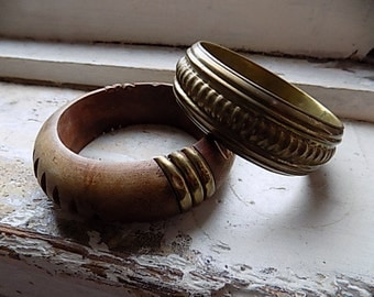 Vintage Pair Brass and Wood Chunky Bangle Bracelets India