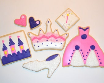 PRINCESS THEME assorted decorated cookies.  Birthday Party. Dress, glass slipper, crown, princess, castle, wand, hearts.
