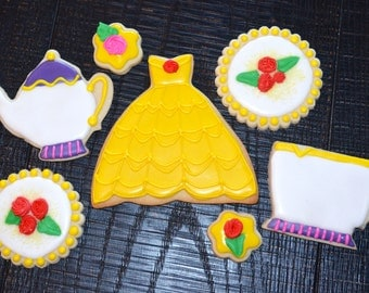BEAUTY & the BEAST THEME assorted decorated cookies. Princess, tea, cup, pot, dress, princess, flowers, birthday, party.