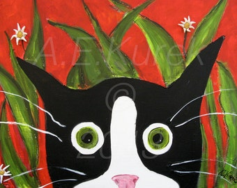 Tuxedo Cat Art - Silent Mylo Tuxedo Cat In The Weeds - Cat Print in 8x10 mat - Cat Gift Idea - Tuxedo Cat Illustration - Gift for Cat Lover