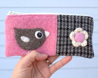Zippered pouch purse pink gray black wool with a needle felted birdie bird flower