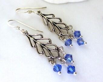 Blue Crystal Earrings, Swarovski Crystal Dangles, Swarovski Sapphire Blue Earrings, Sterling Feather Earrings, Nature Inspired, Marcella
