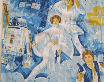 "vintage Star Wars fabric *remnant* -- original Star Wars merchandise -- about 1/3 of a twin flat sheet left, 45""x65"" -- craft supply fabric"