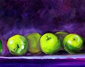 Little Green Apples Still Life Oil Painting, Original 6x8 Canvas Fruit Art, Small Kitchen Home Decor, Purple Blue, Wall Art