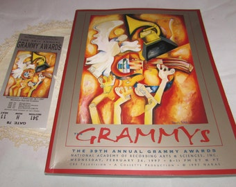 Vintage Souvenir 39th Annual Grammy Awards Program Book AND Entry Ticket to Madison Sq Gardens, Music, Recording Artists, NARAS