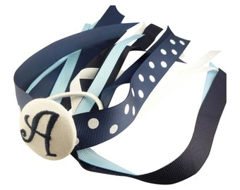 Design your own monogrammed Hair Bow, Navy Blue White Bow, Ponytail Streamer Hair Bow - choose any colors