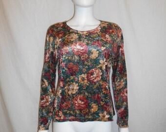 90s velvet floral long sleeve top shirt blouse