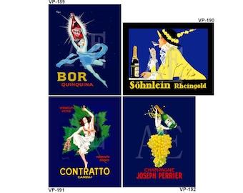 VP189-192 Vintage Poster Art - One 8x10 or Two 5x7s - Bor Quinquina, Sohnlein Rheingold, Contratto Canelli, Champagne Joseph Perrier