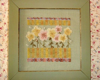 Yellow Pink Pastel Wildflowers Cross Stitch PDF Pattern