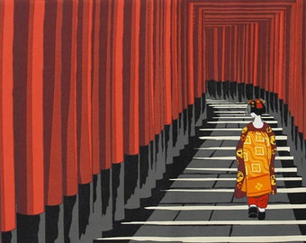 Japanese Art Tenugui 'Maiko Apprentice Geisha at Fushimi Inari Shrine Torii Gates' Kyoto Cotton Japanese Fabric w/Free Insured Shipping