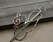 Small Treble Clef Note Hair barrette