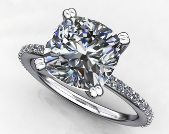 eliza ring - forever one 2.4 carat cushion cut moissanite engagement ring, diamonds