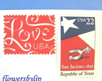 Texas Wedding Postage Stamps, Love Ribbon Red -Texas Flag Stamps, Mail 20 Wedding Invitations 2oz 71c, Dallas Austin Houston red blue stamps