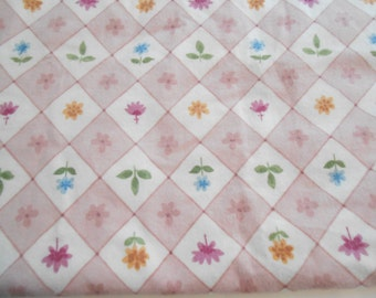 Pink and White Floral Flannel, Botanical Flowers Flannel Cotton Quilting Fabric