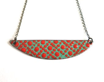 Red and Aqua Enamel Necklace