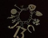 ON SALE Vintage Rockabilly Lucky 13 Charm Bracelet Horseshoe Clover