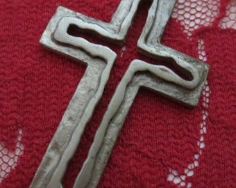 "50% Off SALE Vintage 1960's Gothic Pewter 2"" Cross Pendant Necklace"