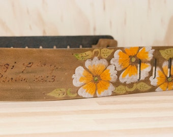 Leather Guitar Strap - Personalized in the Belle pattern with Flowers - orange + brown - Custom Guitar Strap for Electric or Acoustic Guitar