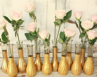 Gold vases, gold wedding decor,  Set of 12 bright gold glitter dipped vintage vases and, gold painted vase, gold wedding table decor