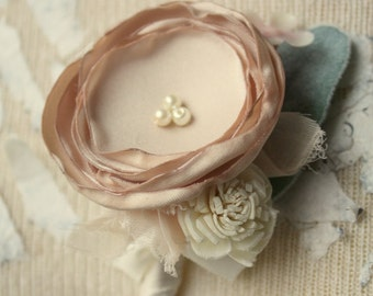 Champagne boutonniere, Fabric flower and lambs ear bout custom made in any color, grooms sola flower boutonniere, groomsmen buttonhole