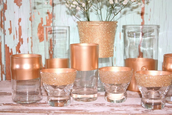 Gold wedding decor 12 gold dipped vintage vases by for Decoration rose gold