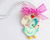 Bluebird Valentine's Necklace Sweet Glitter Sparkle Jewelry Child Adults Kitsch