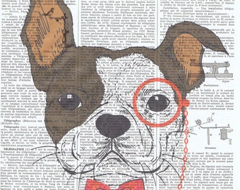 Boxer.Hipster.Dog.Canine.bowtie.antique book page print,stylish.paris.french.gift.child.nursery.den.home deco.art.pet.eyeglass.eco.whimsical