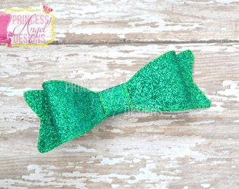 Green Glitter Bow - 3D Bow - Girls Bow - Toddler Bows