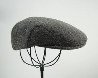 LAST 2!!! Grey Tweed w/ Bright Flecks Wool Children's Sixpence Hat -  Flat Jeff Cap, Ivy Cap, Driving Cap for Men, Women, and Children