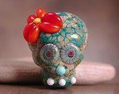 Lampwork Sugar Skull Focal Bead Day of the Dead Divine Spark Designs SRA