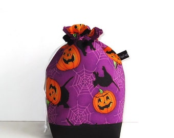 Drawstring Bag Knitting Project Padded Pouch  - Pumpkins