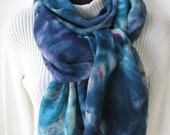 Linen Scarf Hand Dyed Linen Scarf for Women Boho fashion accessory blue scarf unique handmade scarf wearable fiber art scarf boho  fringe