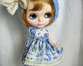 Blythe Doll Dress,  Hat,  Dress. Blue Posy