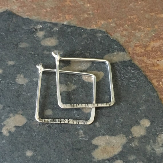 textured square hoops..  small, sterling 5/8 inch