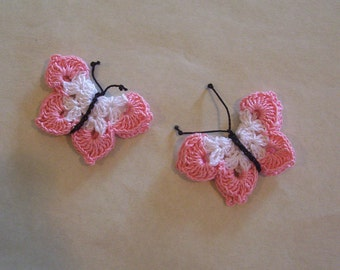 Crochet Light Pink and White Butterfly Appliques Set of 2