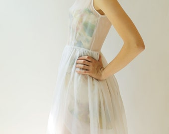 Sample SALE -  white and floral print silk organza dress