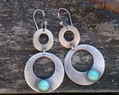 Sterling Silver and turquoise drop earrings ... turquoise hoops turquoise statement earrings turquoise chandelier earrings bohemian earrings