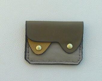Desert Camo Leather Wallet, Coin Purse, Card Case, Compact Leather Wallet, Small Leather Wallet