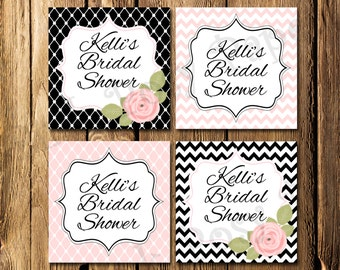 Printable Pink and Black Rose Bridal Shower Gift Tags