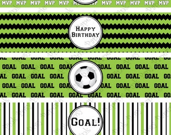 Printable Soccer Birthday Water Bottle Wrappers- Instant Download