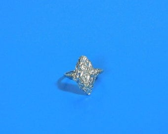 Silver Filigree 3 Stone Cocktail Statement Ring Size 8
