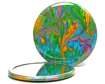Marbled Pocket Mirror 14, Bright Leaf Pattern, Marbled Paper Mirror, Small Glass Mirror, Rainbow Mirror, Bridesmaid Gift, Hostess Gift